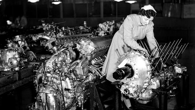 World War Two. 1942. England. A woman at work during the war making Rolls Royce Merlin aircraft engines.