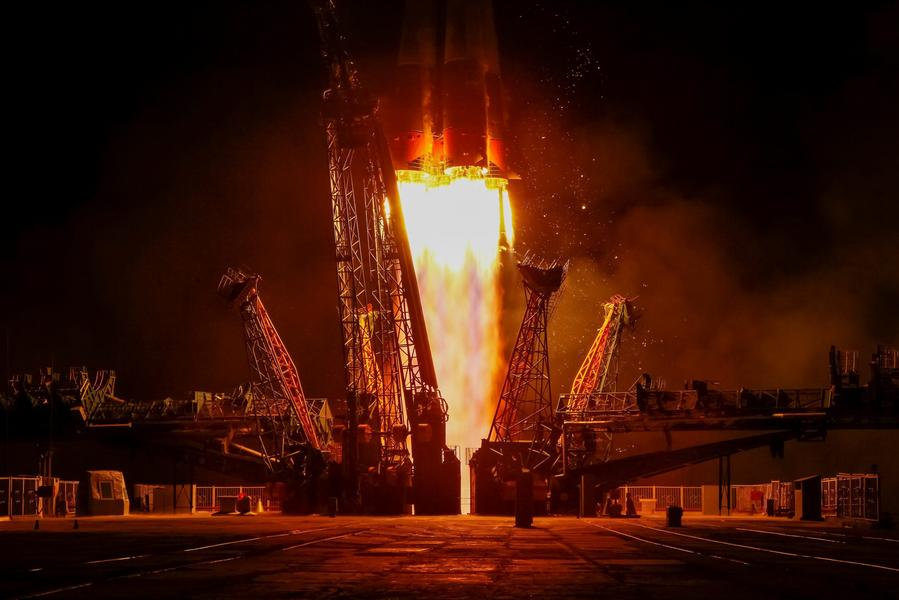 The Soyuz MS-05 spacecraft carrying the crew of Nespoli of Italy, Ryazanskiy of Russia and Bresnik of the U.S. blasts off to the International Space Station (ISS) from the launchpad at the Baikonur Cosmodrome