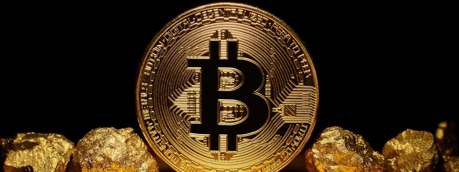 Golden Bitcoin Coin and mound of gold on black background