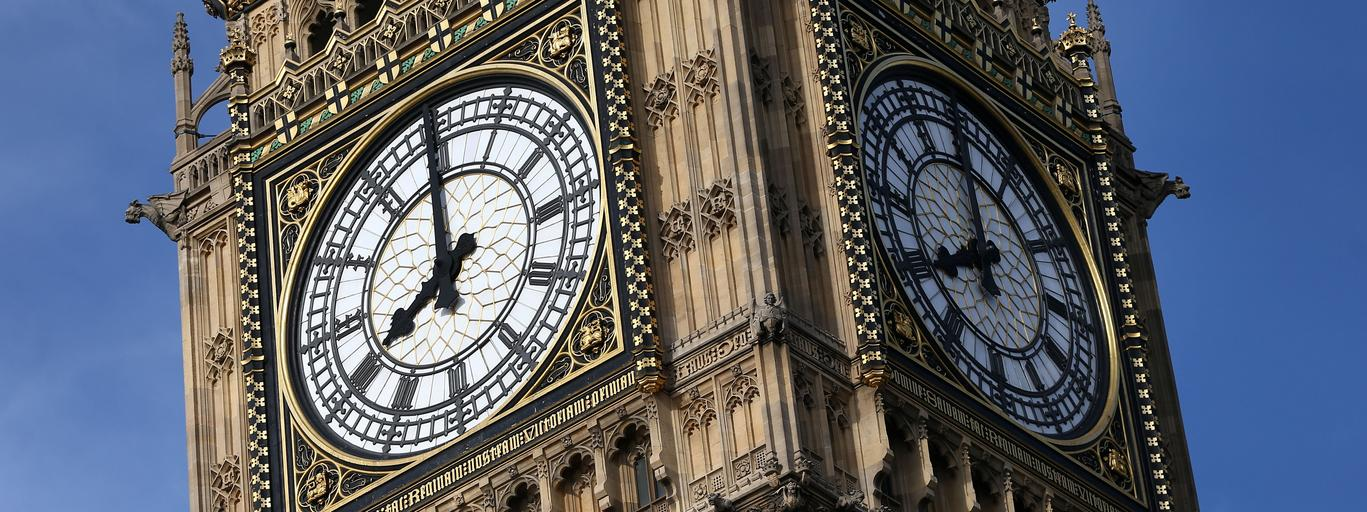 The Elizabeth Tower, which houses the Great Clock and the 'Big Ben' bell, is seen above the Houses o
