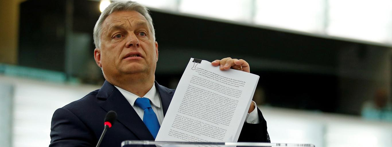 Hungarian PM Orban addresses MEPs during a debate on the situation in Hungary at the European Parliament in Strasbourg