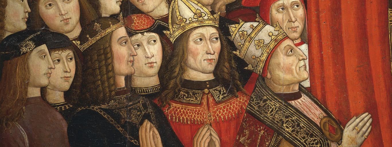 Painting - 1500 ca. 'The Lady of Recommended Persons' by Cola of Rome and Giovanni Antonio of Rome. Pope Alexander VI Borgia and captains of empire and papacy, detail. Tempera on board