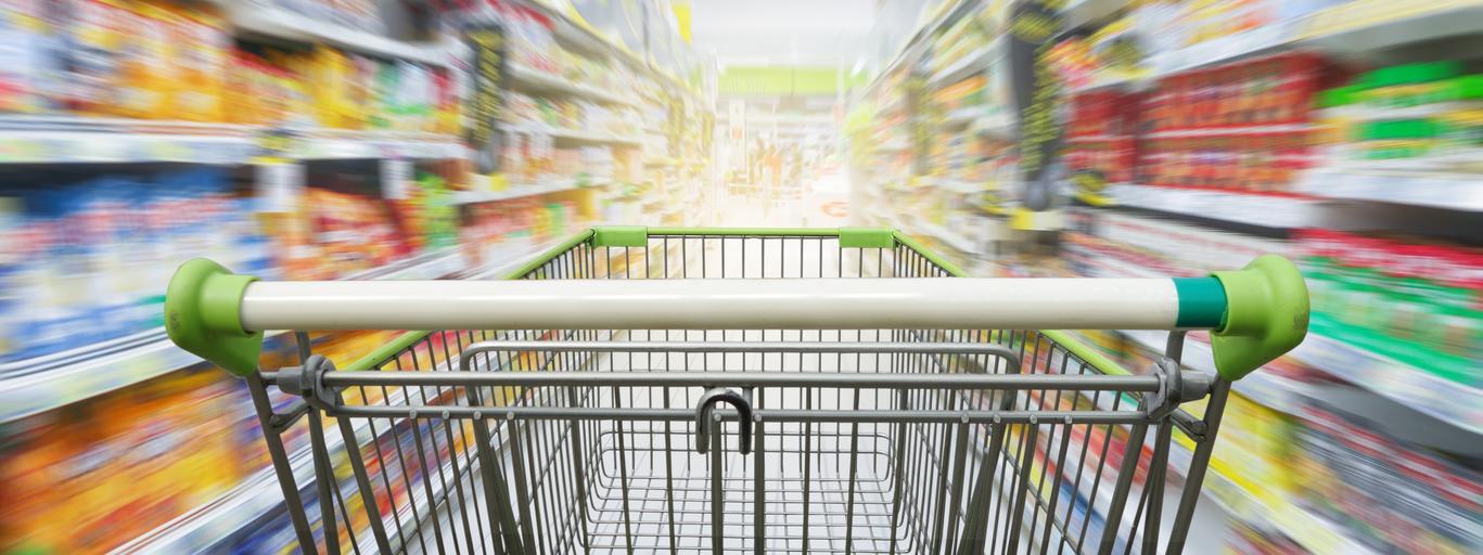 Supermarket sklep handel wózek