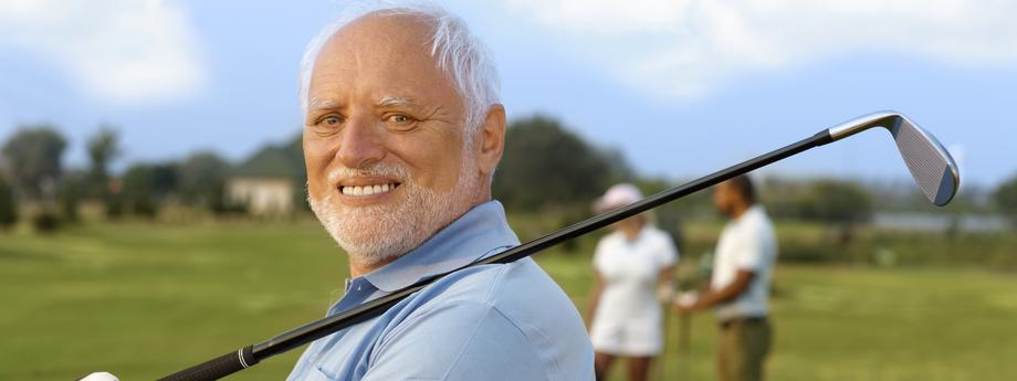 Portrait of mature male golfer