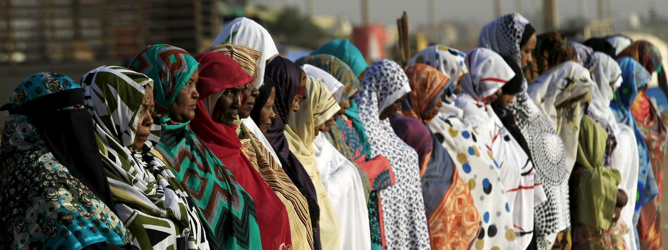 Muslim women gather during Eid al-Adha prayers in Khartoum