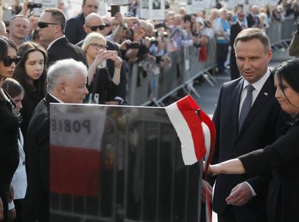 Andrzej Duda, Jarosław Kaczyński, Marta Kaczyńska, pomnik katastrofa smoleńska