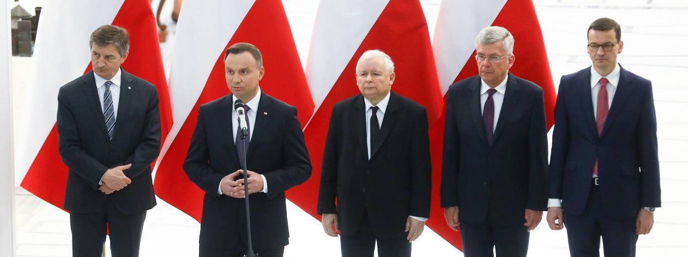 Marek Kuchciński, Andrzej Duda, Jarosław Kaczyński, Stanisław Karczewski, Mateusz Morawiecki