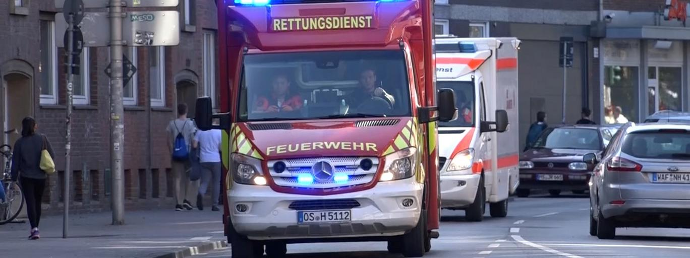 An ambulance arrive near a place where a vehicle drove into a group of people killing several and injured many in Muenster