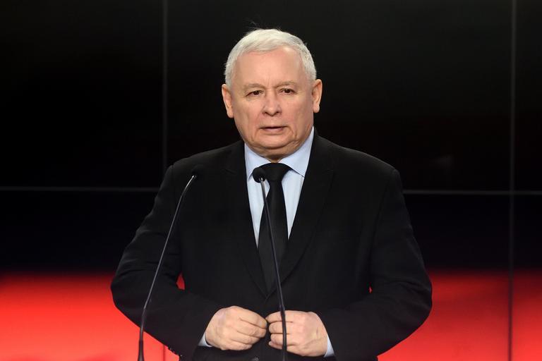 Prezes PiS Jaroslaw kaczynski podczas konfrencji prasowej