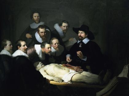 """Lekcja anatomii doktora Tulpa"" Rembrandt van Rijn malarstwo sztuka"