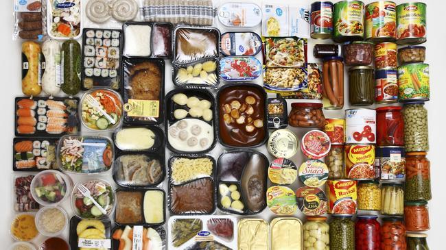Several prepared meals, convenience food