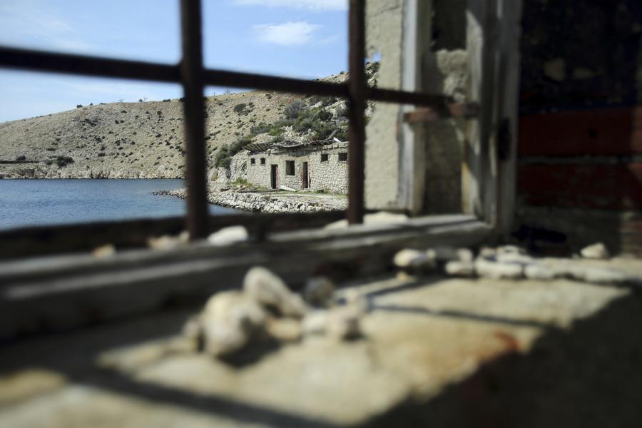 A view of damaged prison buildings on the Goli Otok (Barren Island)