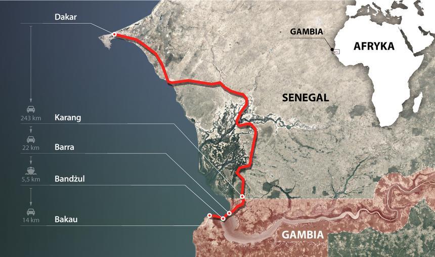 Trasa ze stolicy Senegalu Dakaru do Bakau w Gambii zajęła mi prawie 12 godzin.