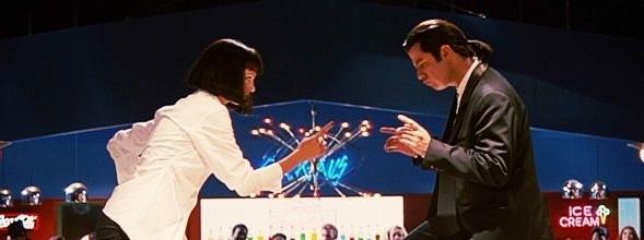 Pulp Fiction (1994) Na zdjęciu: John Travolta i Uma Thurman.