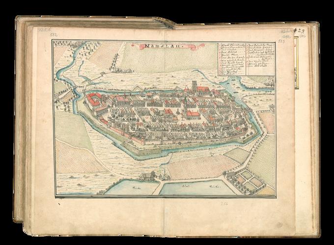 Widok Namysłowa pochodzący ze zbiorów BU we Wrocławiu, Gabinet Rękopisów IV F 113b – Silesia In Compendio seu Topographia 1750.