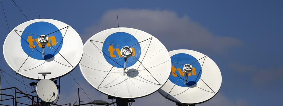 Satellite antennas are pictured at the TVN headquarters in Warsaw