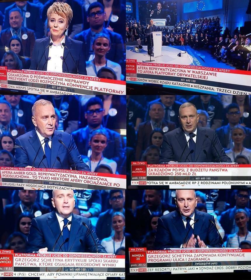 """Kompilacja """"pasków"""" TVP Info, które pojawiły się podczas konwencji krajowej Platformy Obywatelskiej w Łodzi"""