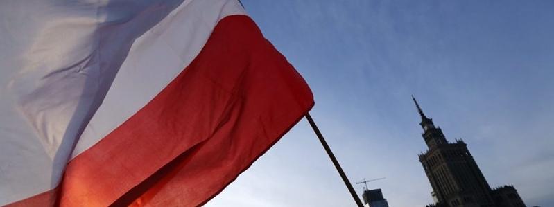 Polska flaga Polski w Warszawie PKiN