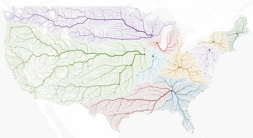 Mapa dróg prowadzących do amerykańskich miast o nazwie