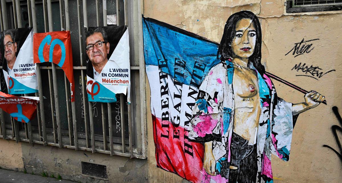 Paryż, mural, wybory