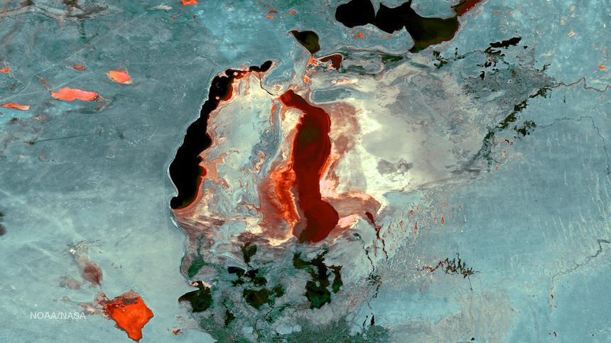 Jezioro Aralskie było kiedyś jednym z największych zbiorników słodkiej wody na świecie. Dziś niemal wyschło. Na tym zdjęciu satelitarnym widać obszary (oznaczone jako ciemniejsze), które wciąż pokryte są wodą. Otaczają je suche połacie dna jeziora (oznaczone jako jaśniejsze)