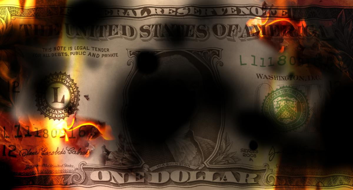 United States banknote dollar burning with fire and destroyed, conceptual financial crisis, 3d illus