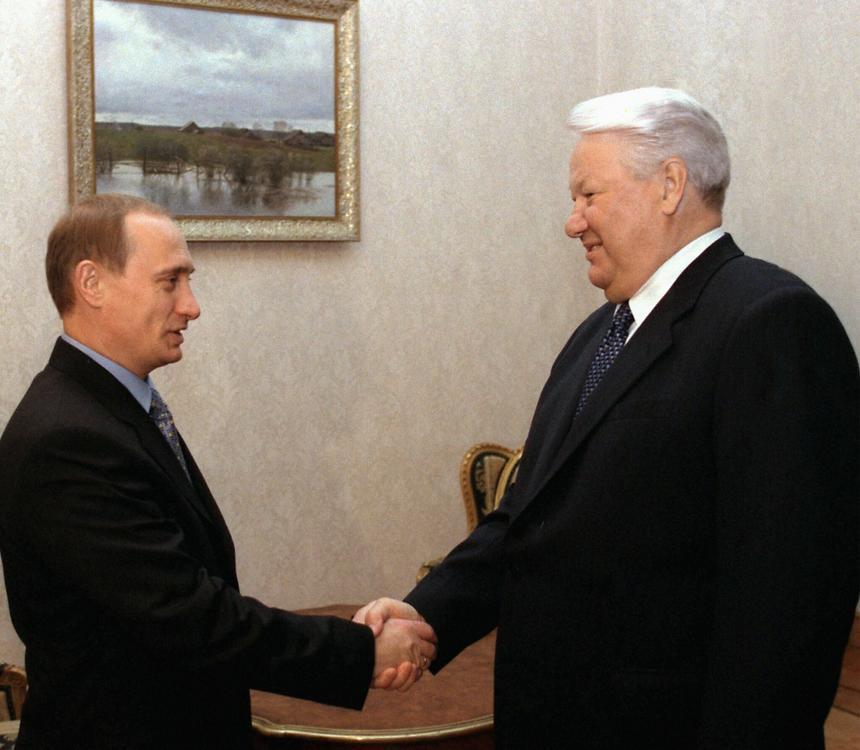 Moskwa, Rosja, 3.11.99. - Prezydent Rosji Borys Jelcyn i premier Władimir Putin