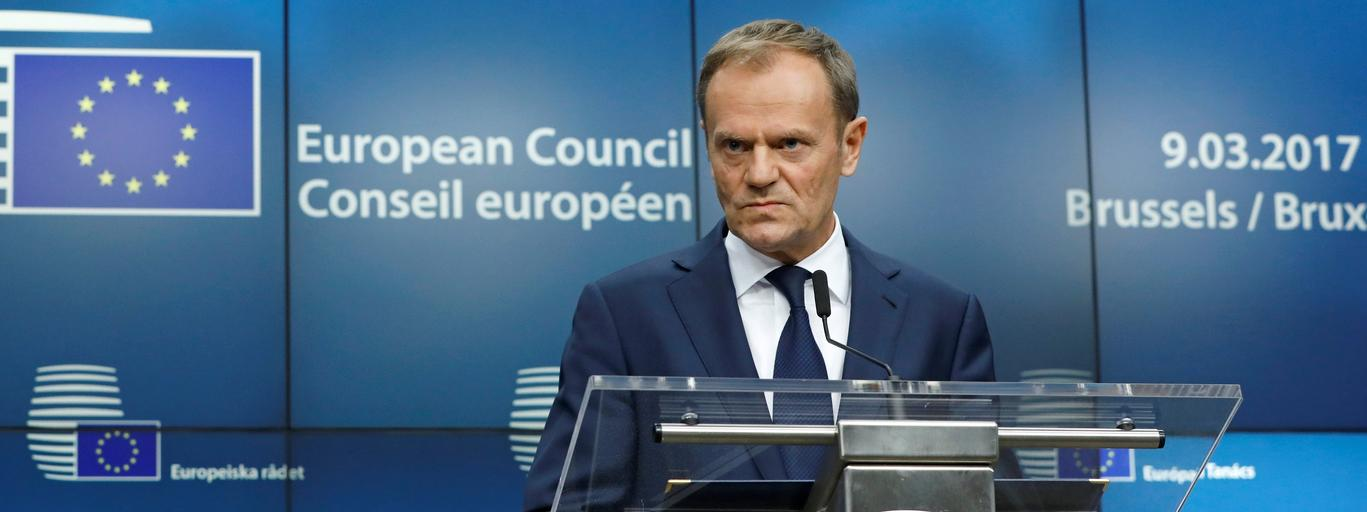 European Council President Donald Tusk takes part in a news conference after being reappointed chairman of the European Council during a EU summit in Brussels