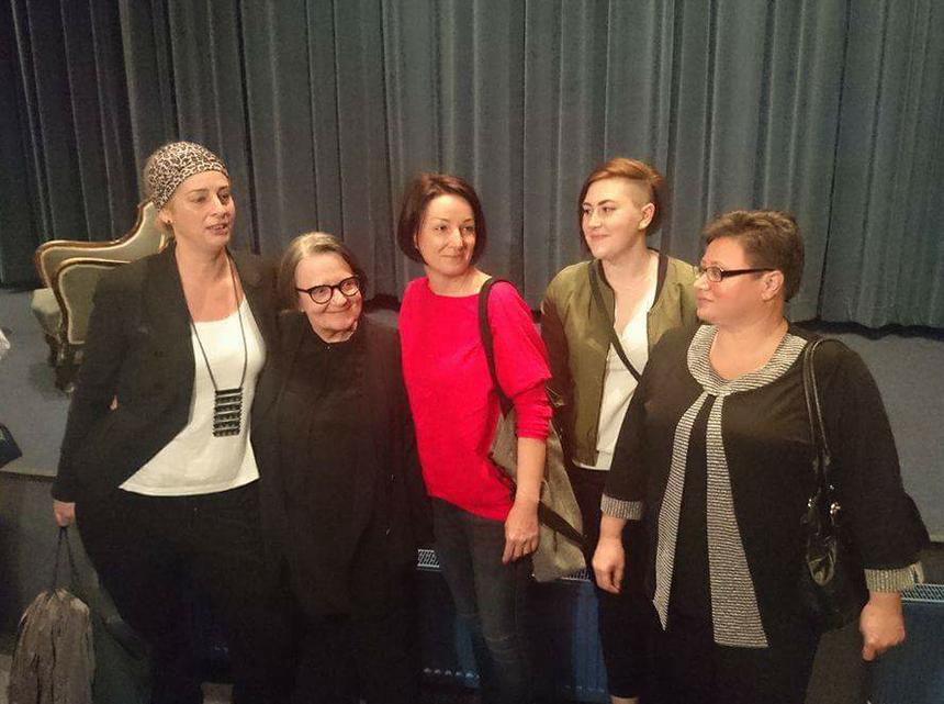 Za zdjęciu od lewej Aleksandra Piotrowska, Agnieszka Holland, Katarzyna Gwóźdź, Katarzyna Jaskulska i Ewa Wnorowska.