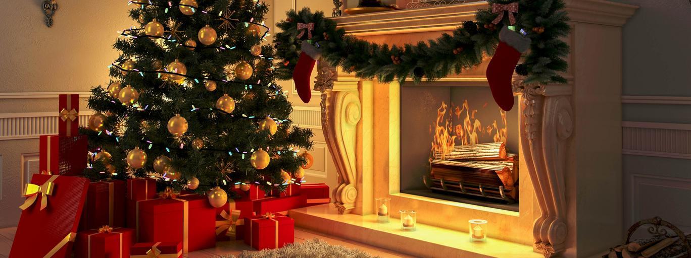 choinka święta, kominek, prezenty, drzewko świąteczne