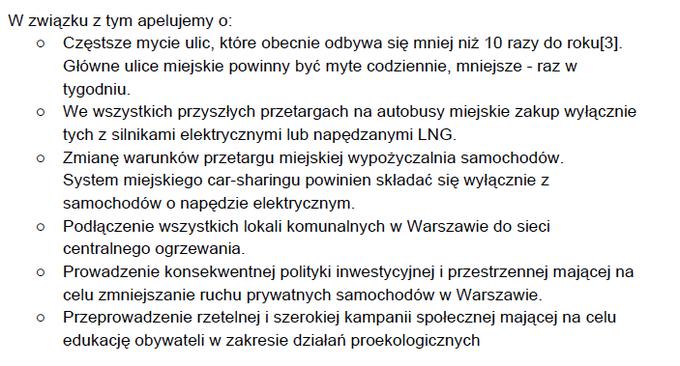 Fragmenty listu otwartego do prezydent Warszawy Hanny Gronkiewicz-Waltz w związku z zanieczyszczeniem powietrza w mieście.