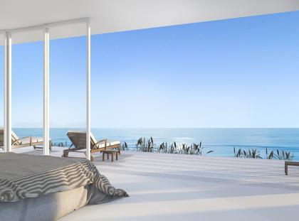 3d rendering luxury villa bedroom near beach