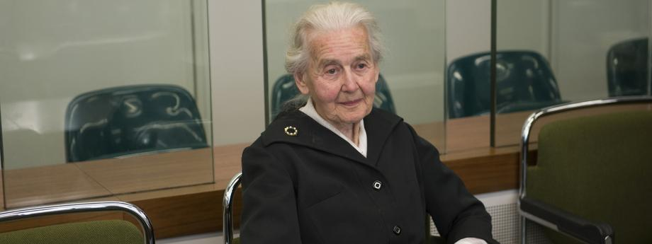 Ursula Haverbeck, accused of denying the holocaust, sits in a courtroom in Berlin