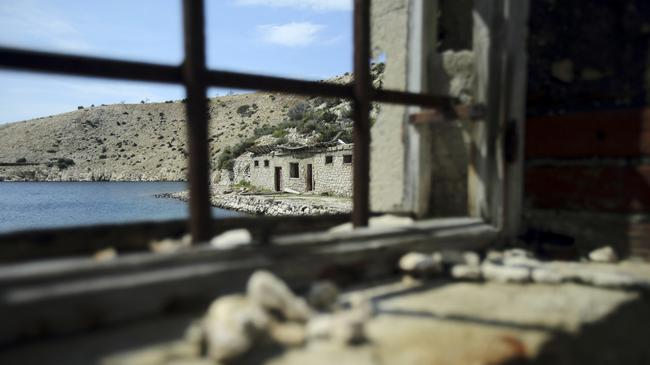 A view of damaged prison buildings on the Goli Otok (Barren Island)