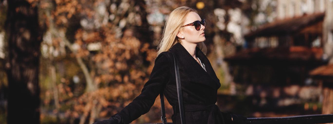 kobieta jesień moda płaszcz