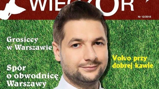 """Patryk Jaki na okładce gazety """"Warszawski Wieczór""""."""