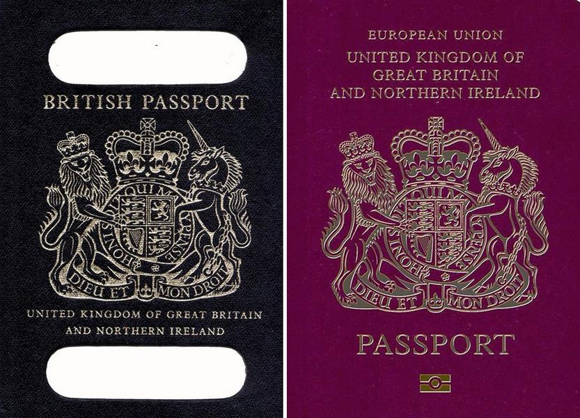 Stary paszport Wielkiej Brytanii używany do 1988 roku po lewej. Po prawej paszport Wielkiej Brytanii używane obecnie. fot. twitter