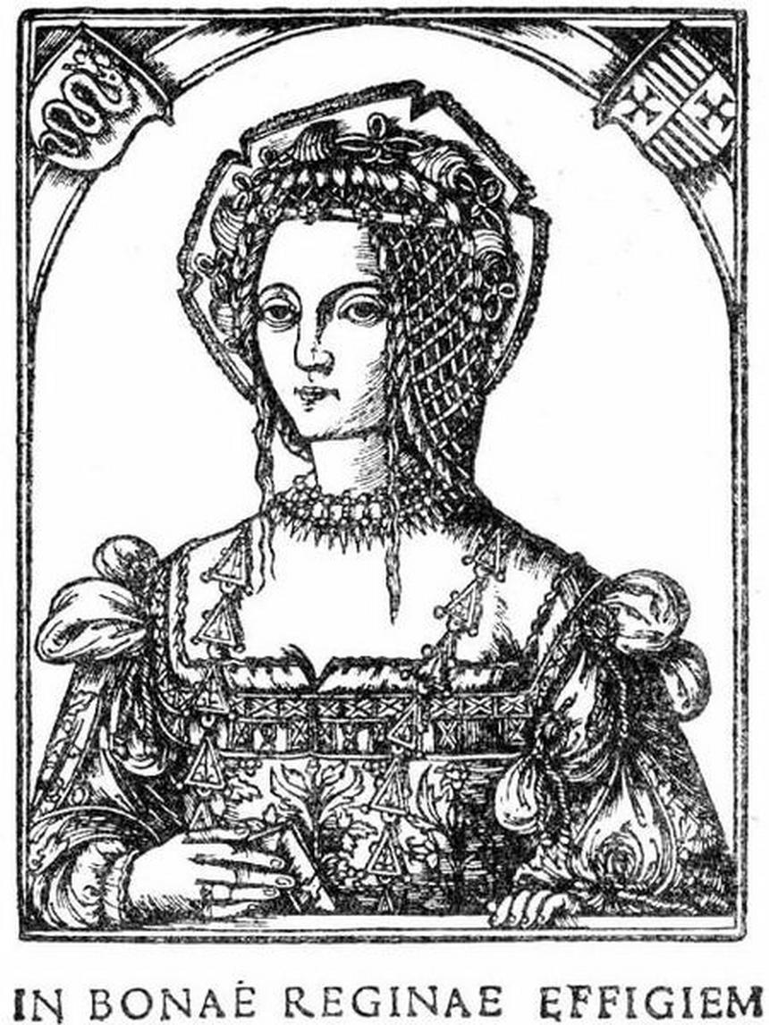 Ilustracja Encyklopedii staropolskiej T.4 457 - Królowa Bona (z drzeworytu)