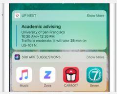 Sugerowane aplikacje Siri podpowiada też przydatne apki na podstawie pory dnia i tego, gdzie akurat jesteś. Na przykład na siłowni przypomni o ulubionej apce do treningu indywidualnego, która pomoże Ci poprawić wyniki.