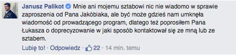 Oświadczenie Janusza Palikota