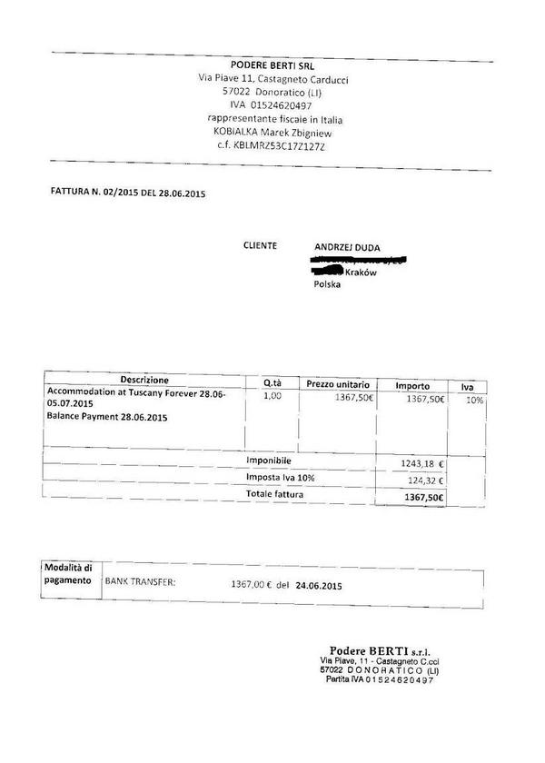 Faktura za pobyt Andrzeja Dudy z rodziną w toskańskiej rezydencji