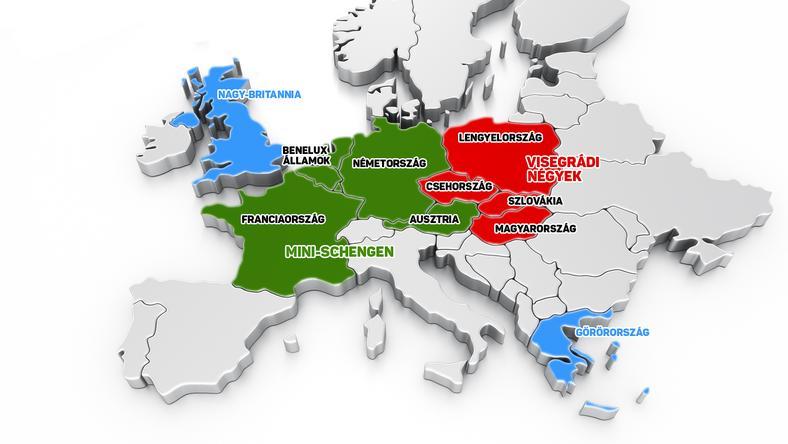 Az ábrán az látszik, miként tagozódhat szét több darabra az EU. S mely tagországok, csoportosulások, miért lógnak ki a rendszerből