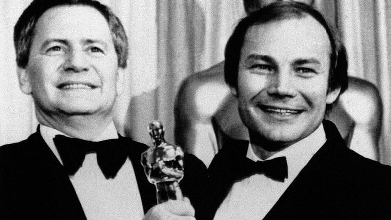 1982-ben Szabó István (balra) és Klaus Maria Brandauer így örült az Oscar-díjnak / Fotó: MTI