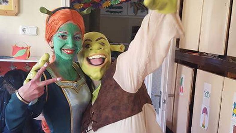 Dóra Shrek és Fiona arcát öltötte magára a gyerekek szórakoztatására Csontos Dóra