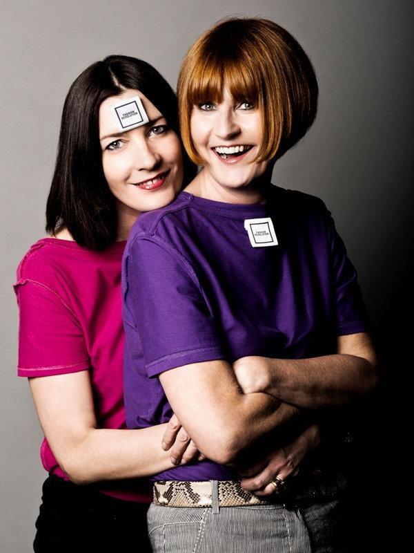 Melanie Rickey & Mary Portas (Photographer: Trevor Leighton/Stylist: Alice Wilby/Hair: Oscar Alexander/Makeup: Lauren Baker/T-shirt: Continental Clothing/Oversized label: Mrs Bowtie)