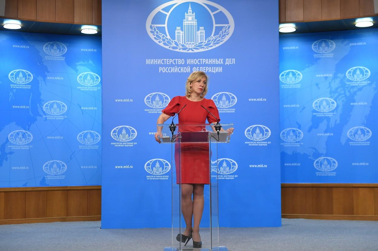 Zaharova pre mesece dana na pres konferenciji u glavnom gradu Rusije