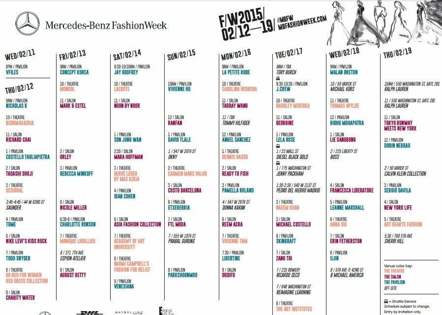 New York Fashion Week Schedule