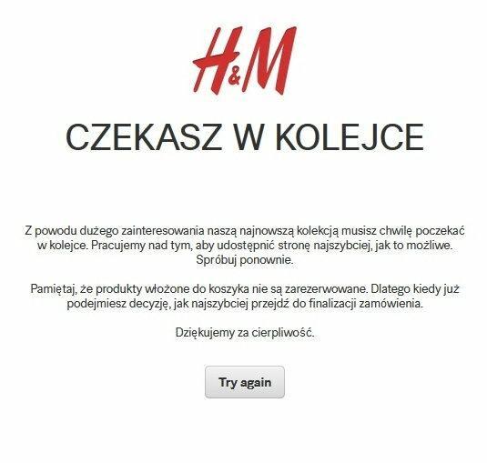 Screen ze strony internetowej H&M