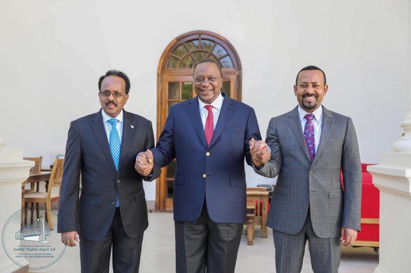 Ethiopian PM Abiy Ahmed with presidents Uhuru Kenyatta and his Somali counterpart Mohammed Farmajo