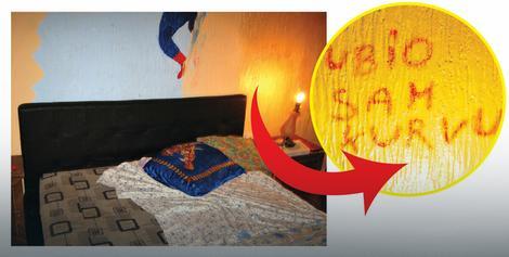 Ljubiša je nakon što je ugušio Zlatu jastukom karminom na zidu napisao: Ubio sam  kurvu